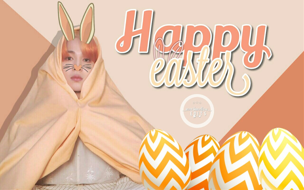 [message:] Happy easter to everyone! 💕  [hashtags:]  #freetoedit #happy #easter #happyeaster #jimin #parkjimin #mochi #bts