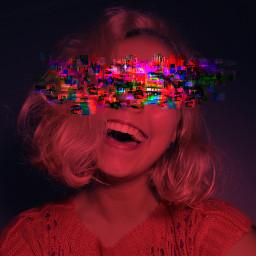 smile glitch monochrome red girl