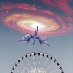 freetoedit ferriswheel sky galaxy dragon