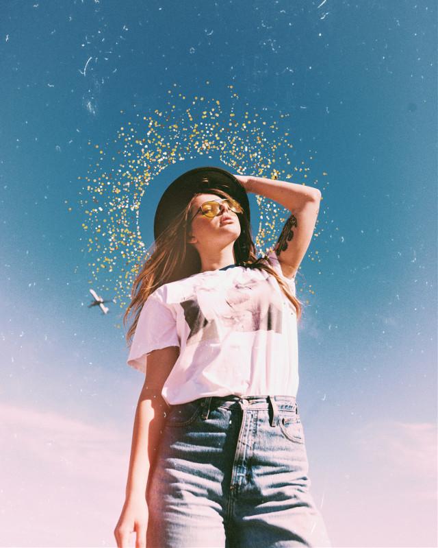 #filter #girl #sky #glitter #gold