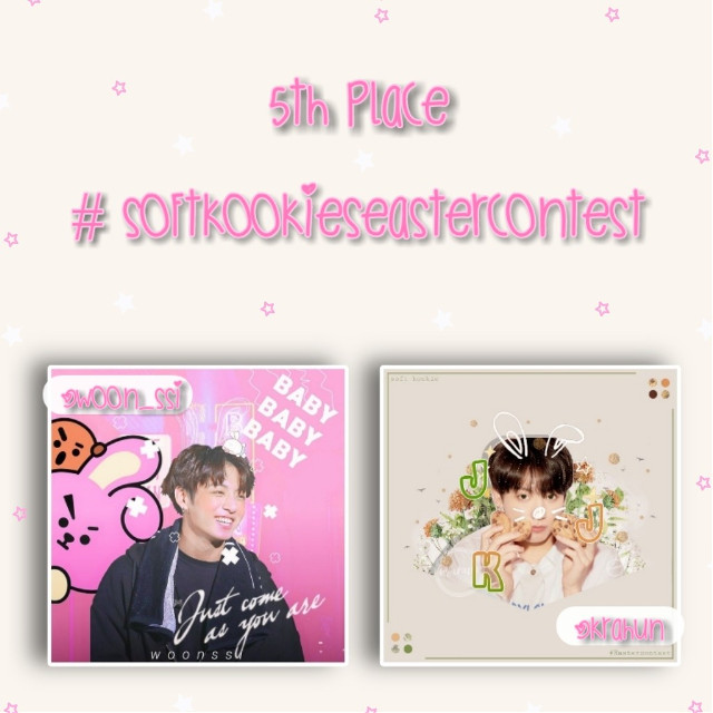 Follow @woon_ssi and @krahun the 5th place winners of my easter contest 🎉💕  ───── ⋆⋅☆⋅⋆ ─────  Prizes: a shoutout that I've given in this post, 5 reposts and you can request an icon if u want one :))  ───── ⋆⋅☆⋅⋆ ─────  I've chosen 8 winners of this contest instead of three because there was so many amazing edits to choose from so i couldn't just only pick 3. The rest of the winners will be posted this week  ───── ⋆⋅☆⋅⋆ ─────  #softkookiesEastercontest #bts #jungkook #freetoedit