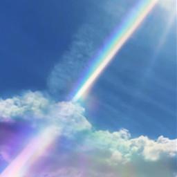 freetoedit rainbow sunbeam clouds rays