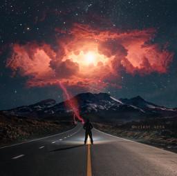 freetoedit nebula clouds road man