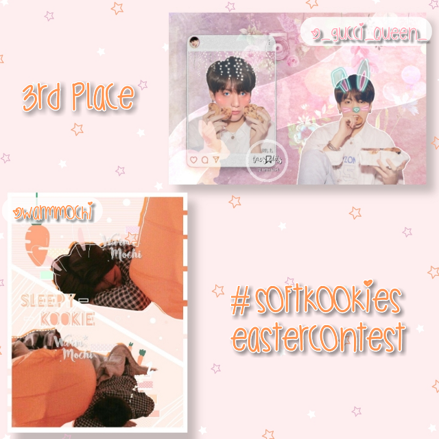 Follow @warmmochi and @_gucci_queen_  the 3rd place winners of my easter contest 🎉💕  ───── ⋆⋅☆⋅⋆ ─────  Prizes: a shoutout that I've given in this post, 8 reposts and you can request an icon if u want one :))  ───── ⋆⋅☆⋅⋆ ─────  #softkookiesEastercontest #bts #jungkook #freetoedit