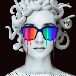 freetoedit medusa blackandwhite sunnglasses colorful