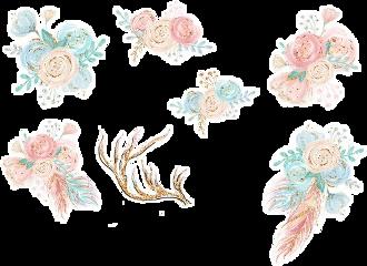 watercolor handpainted karamfila flowers bouquets freetoedit