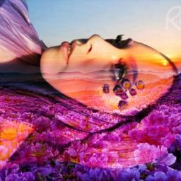 freetoedit rikkisgirl flowerfield mountains sunset
