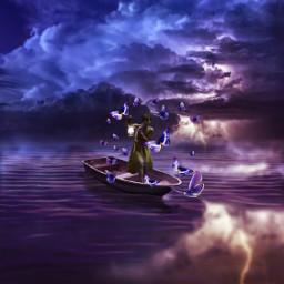 freetoedit butterfly girl boat water
