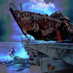 freetoedit stormy abandonedship stranded marmaid