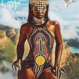 doubleexposure portrait editedbyme african bathingsuit