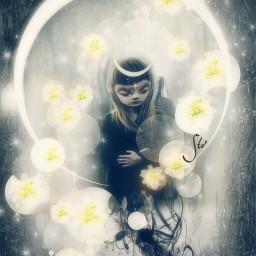 art moon fairy fairyforest flowers