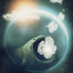 art moon fairy underwater whiteroses