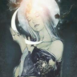 art moon fairy dreamy magical