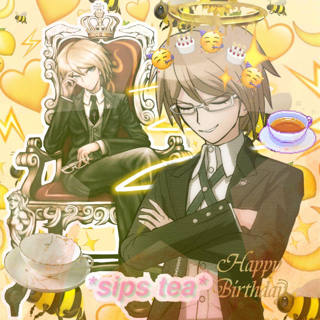 #freetoedit Happy birthday Byakuya Togami #byakuyatogami #byakuya #danganronpa #danganronpatriggerhappyhavoc #danganronpa1  #tea #birthdayinvitation #happybirthday