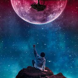 upsidedown moon edge galaxy person freetoedit ecupsidedown