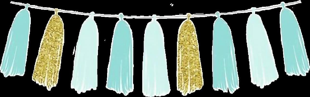 #watercolor #tassels #banner #pennant #bunting #teal #gold #glitter #aqua #mint