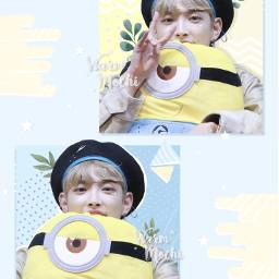 kpop kpopedit korean koreanedit ateez ateezhongjoong hongjoong blue yellow pastel