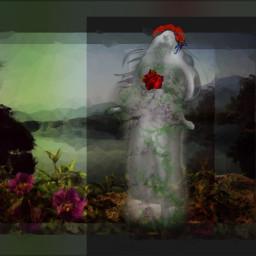 freetoedit woman heart growth flowers