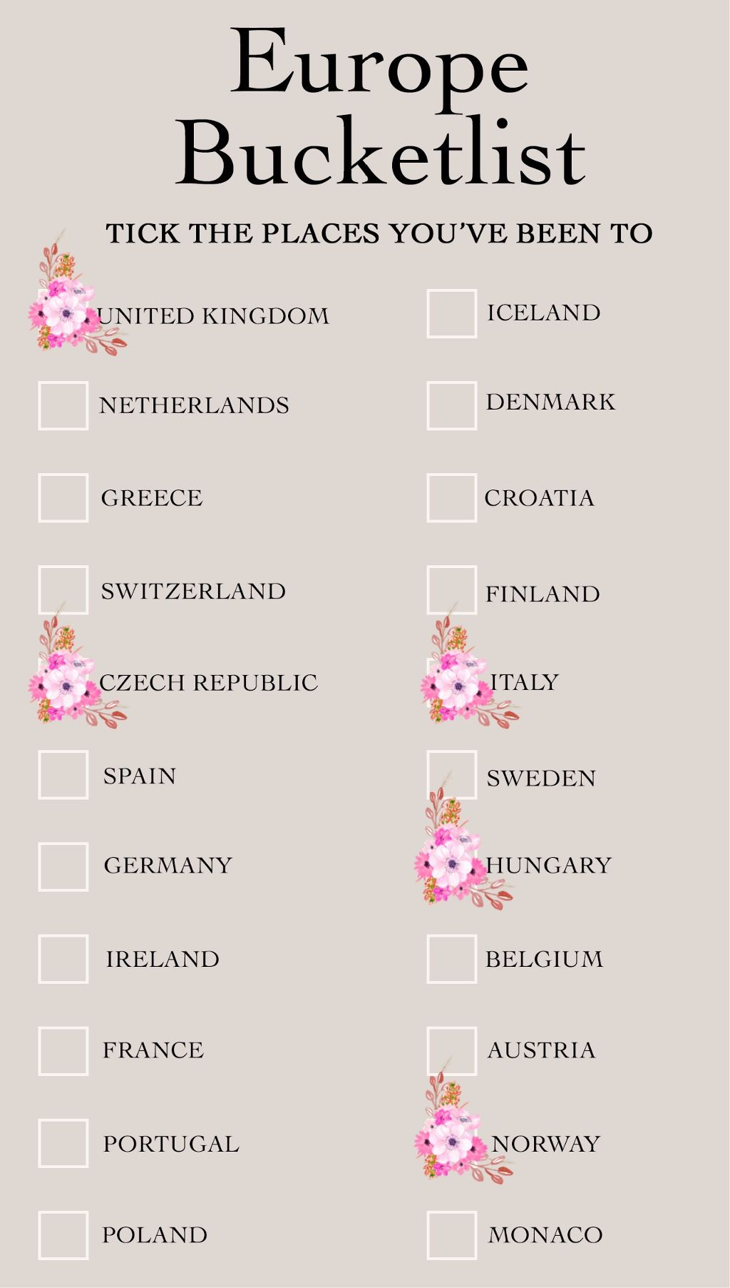 #freetoedit #bucketlist #edit #tick #flower #traveler #travel