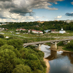 summer bridge clouds river
