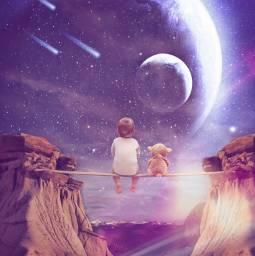 baby surreal teddybear planets shootingstars freetoedit