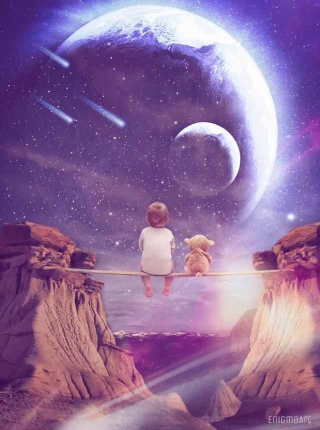 Did this a while ago... #baby #surreal #teddybear #planets #shootingstars #interesting  #madewithpicsart #editedstepbystep #enigmaart #myedit #freetoedit op: pixabay/unsplash
