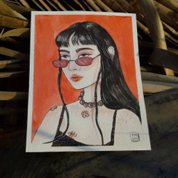 girl freetoedit red draw sketch
