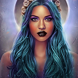 freetoedit galaxyhair makeup blue blacklipstick