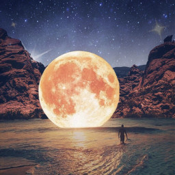 surreal moon beach space freetoedit
