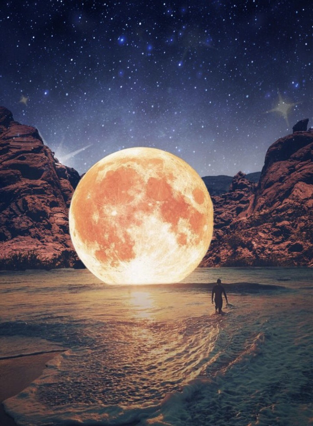 The 👏 best 👏 time 👏 to 👏 create 👏 a 👏 surreal 👏 edit 👏 is 👏 all 👏 the 👏 time 🙃 Edit by @lissemarz #surreal #moon #beach #space #freetoedit