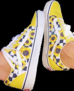 yellow sunflower vans shoes aesthetic freetoedit