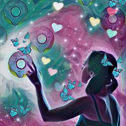 freetoedit girl butterfly donut donuts ircdonut