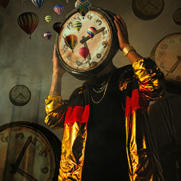 freetoedit hotairballoons man time clocks