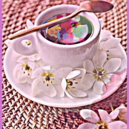 freetoedit pink flowers spoon drink