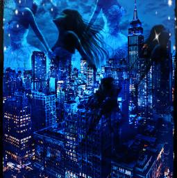 watchers city citylights angels woman