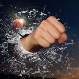 fist crack broken moon bloodmoon freetoedit