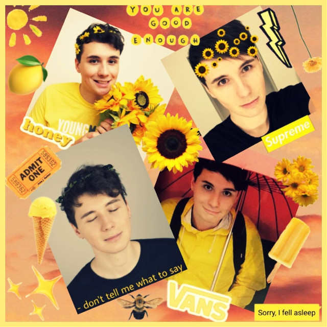 Dan Howell 💛 read Looking for someone to make me a simple watermark with my username, comment if you can 💛💛💛💛💛 #freetoedit #danhowell #danielhowell #danandphil #lgbtq #yellow #collage