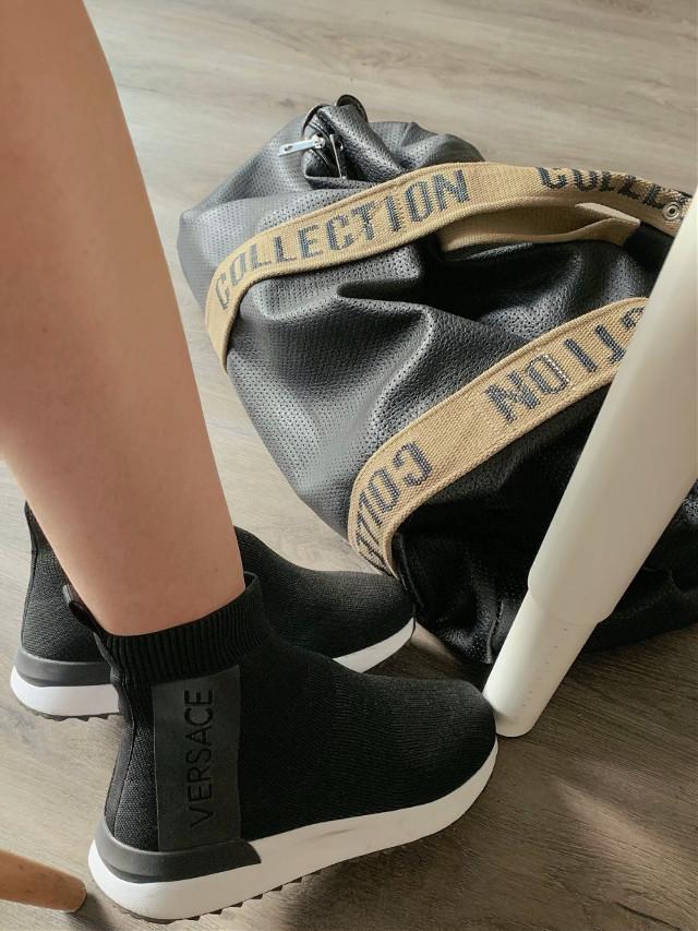 Three shades of black  #freetoedit #versace #black #style #details #blogger #fashion #ootd