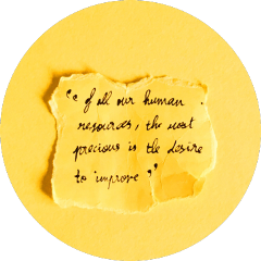 yellow aesthetic circle quote cardboard