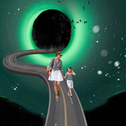 remixme futuristic lady road fantasy freetoedit