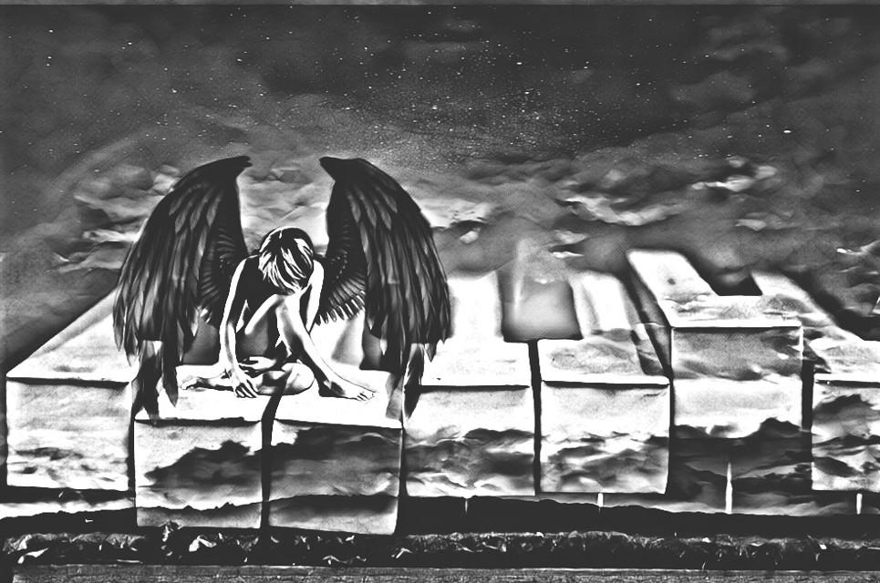 #fallenangel #angelofmusic #tinypeople #pianokeys #cloudysky #stars #clouds #blackandwhite #sorrow #mymind #myeye #bchez #edit #freetoedit #ectinypeople