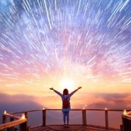 shootingstars bridge skyblue woman sunset freetoedit