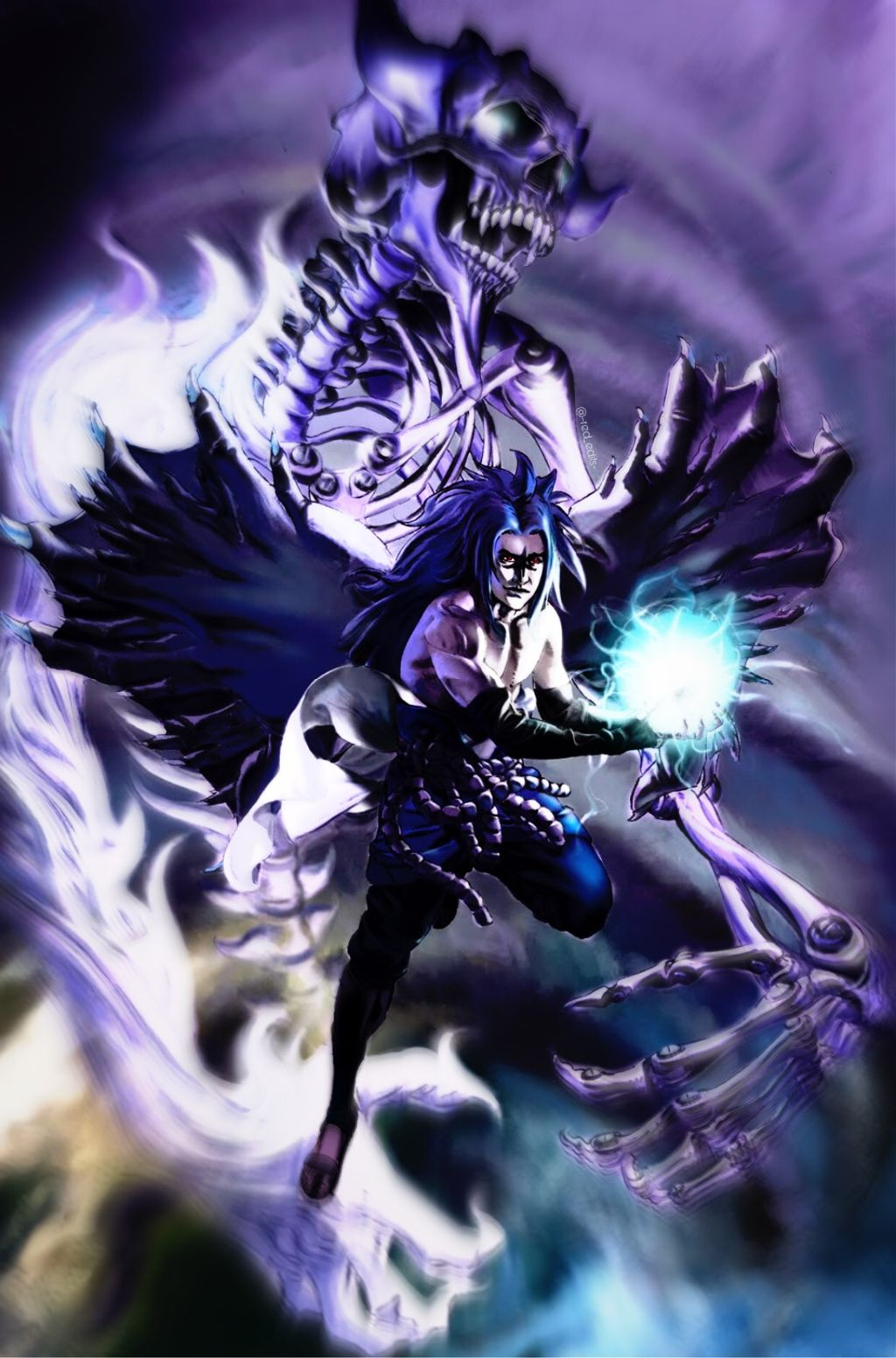 Sasuke Sasukeuchiha Susanoo Purple Skeleton Wings Curse