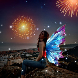 freetoedit lights girl specialedit butterflywings