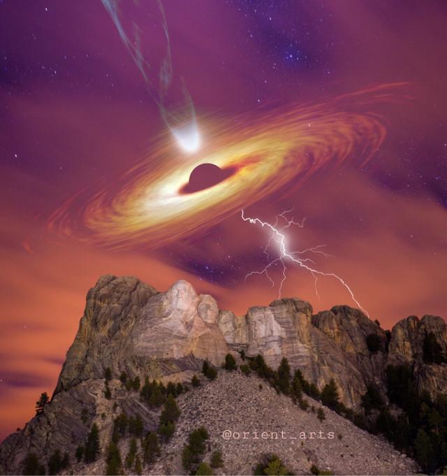 #freetoedit #mountrushmore #blackhole #galaxy #mountain #lightning #stars #rotation #imagination #fantasy #picsart @picsart