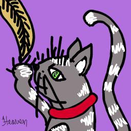 cat kitty feather pluma digitalart dcgrumpycat