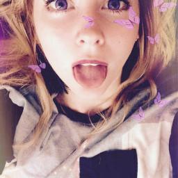 butterflies cute freetoedit girl tongueout