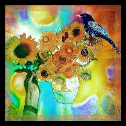 freetoedit sunflowers bouquetofflowers vangoghart blackbirdsinging