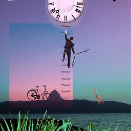 man clock colored repair landscape freetoedit