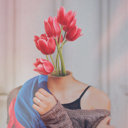 surreal flowerhead woman mujer tulips freetoedit
